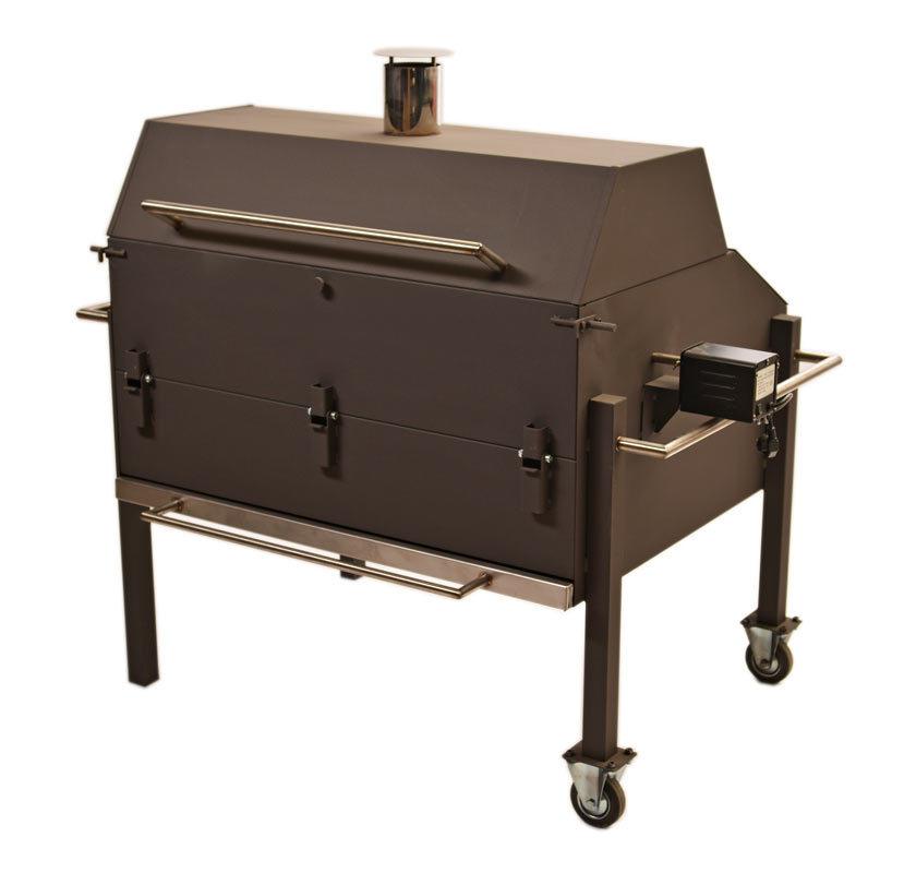 Grill painted with stainless steel accessories